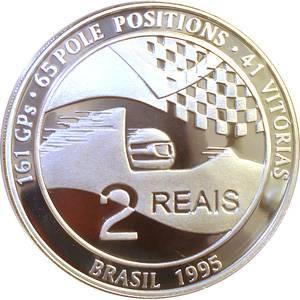 Coin P731 Moeda Brasil 2 Reais 1995 Homenagem a Ayrton Senna (Ayrton Senna) Brazil reverse