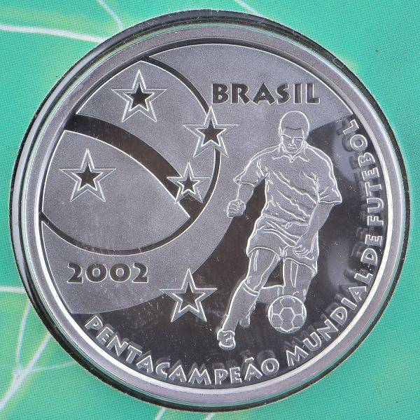 Coin P737 Moeda Brasil 5 Reais 2002 Pentacampeonato Mundial de Futebol (5th World Cup Championship) Brazil obverse
