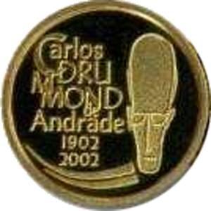 Coin O743 Moeda Brasil 2002 20 Reais Centenário de Carlos Drummond de Andrade (Carlos Drummond de Andrade) Brazil obverse