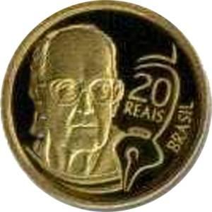 Coin O743 Moeda Brasil 2002 20 Reais Centenário de Carlos Drummond de Andrade (Carlos Drummond de Andrade) Brazil reverse