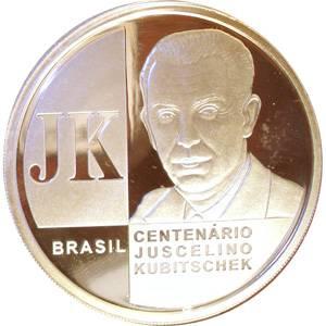 Coin P735 Moeda Brasil 2 Reais 2002 100 anos de Nascimento do Presidente JK (Juscelino Kubitschek) Brazil obverse