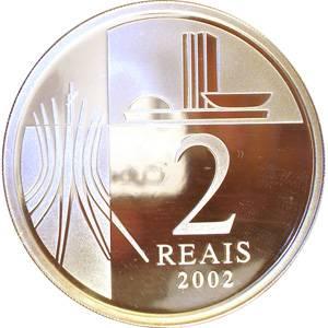 Coin P735 Moeda Brasil 2 Reais 2002 100 anos de Nascimento do Presidente JK (Juscelino Kubitschek) Brazil reverse