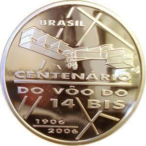 Coin P741 Moeda Brasil 2 Reais 2006 Comemorativa do Centenário do Vôo do 14 Bis  (Flight of 14 Bis) Brazil reverse