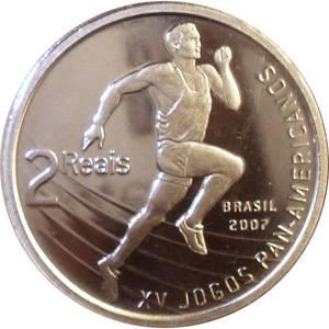 Coin V567 Moeda Brasil 2007 2 Reais Jogos Panamericanos Rio (XV Pan-American Games) Brazil reverse
