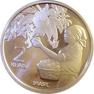 Coin V568 Moeda Brasil 2 Reais 2008 Centenário da Imigração Japonesa no Brasil (Japanese Immigration) Brazil reverse