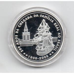 Coin P743 Moeda Brasil 5 Reais 200 Anos da Chegada da Familia Real (Arrival of Royal Family) Brazil obverse