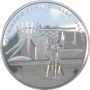 Coin P744 Moeda Brasil  5 Reais 2010 50 Anos de Brasilia Patrimonio da Humanidade UNESCO (Brasília) Brazil obverse