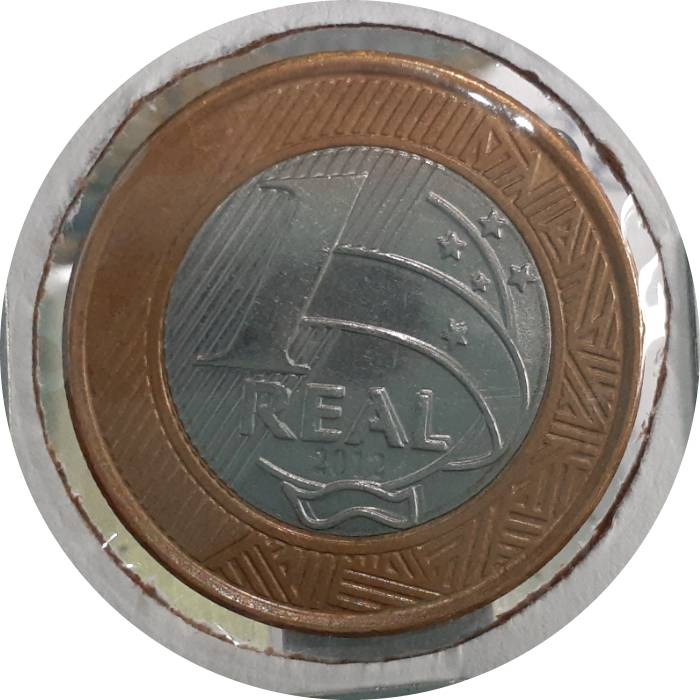 Coin 1 Real (Olympic Flag Handover) Brazil obverse