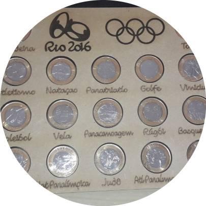 Coin Coleçao completa, com Bandeira, Rio 2016, Flor cunho + Estojo expositor de madeira undefined obverse