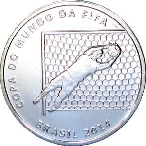 """Coin V570 Moeda Brasil 2 Reais 2014 """"Jogadas do Futebol"""" - A Defesa do Goleiro (FIFA World Cup 2014 - Saving the Ball) Brazil obverse"""