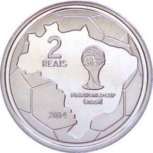 "Coin V570 Moeda Brasil 2 Reais 2014 ""Jogadas do Futebol"" - A Defesa do Goleiro (FIFA World Cup 2014 - Saving the Ball) Brazil reverse"
