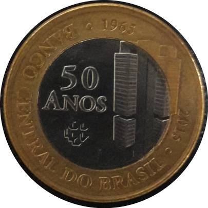 Coin 1 Real (50 Years of Central Bank) Brazil reverse