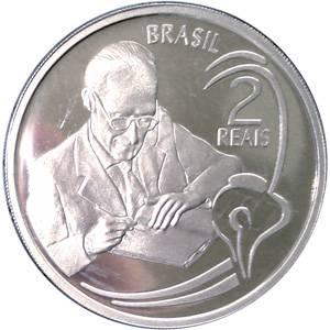 Coin P736 Moeda Brasil 2 Reais 2002 100 Anos do Nascimento do Escritor Drummond (Carlos Drummond de Andrade) Brazil reverse