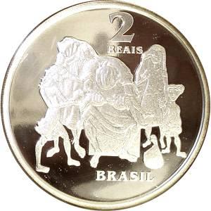 Coin P739 Moeda Brasil 2 Reais 2003 Centenário de Candido Portinari (Candido Portinari) Brazil reverse