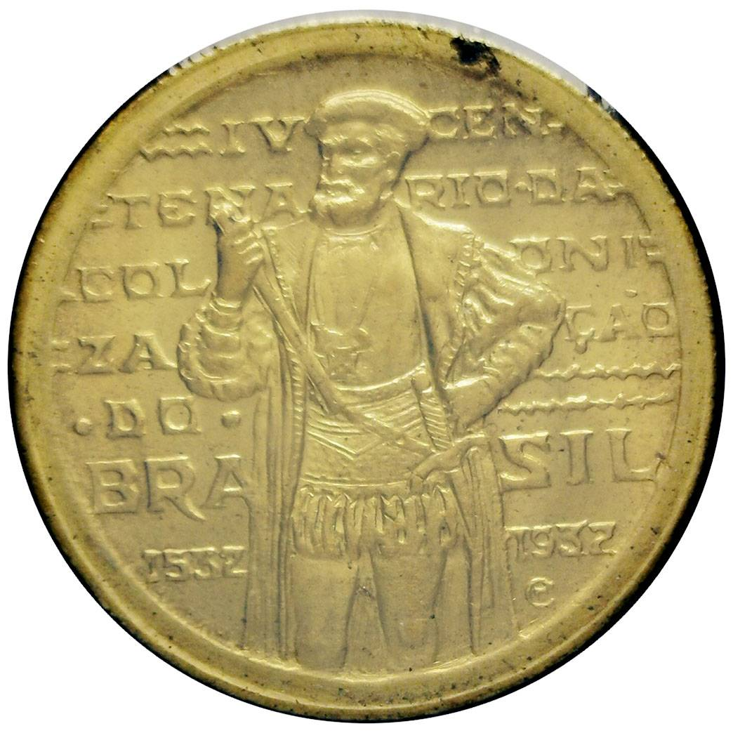 Coin 1000 Réis (400th Anniversary of Colonization) Brazil reverse