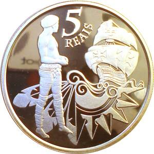 Coin P734 Moeda Brasil 2000 5 Reais 500 Anos do Descobrimento do Brasil (Discovery of Brazil) Brazil reverse