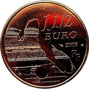 Coin 1½ Euro (Olympique Lyonnais) France obverse