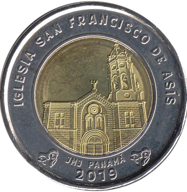 Coin 1 Balboa (Saint Francis of Assisi Church) Panama reverse