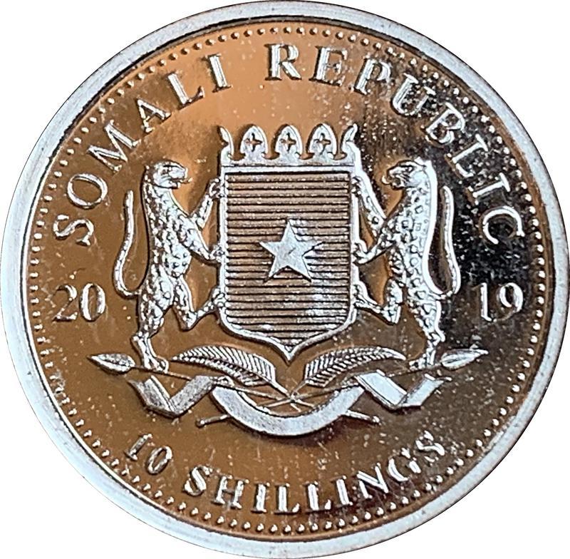 Coin 10 Shillings (Elephant) Somalia obverse