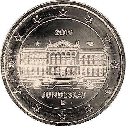 Coin 2 Euro (Bundesrat) West Germany obverse
