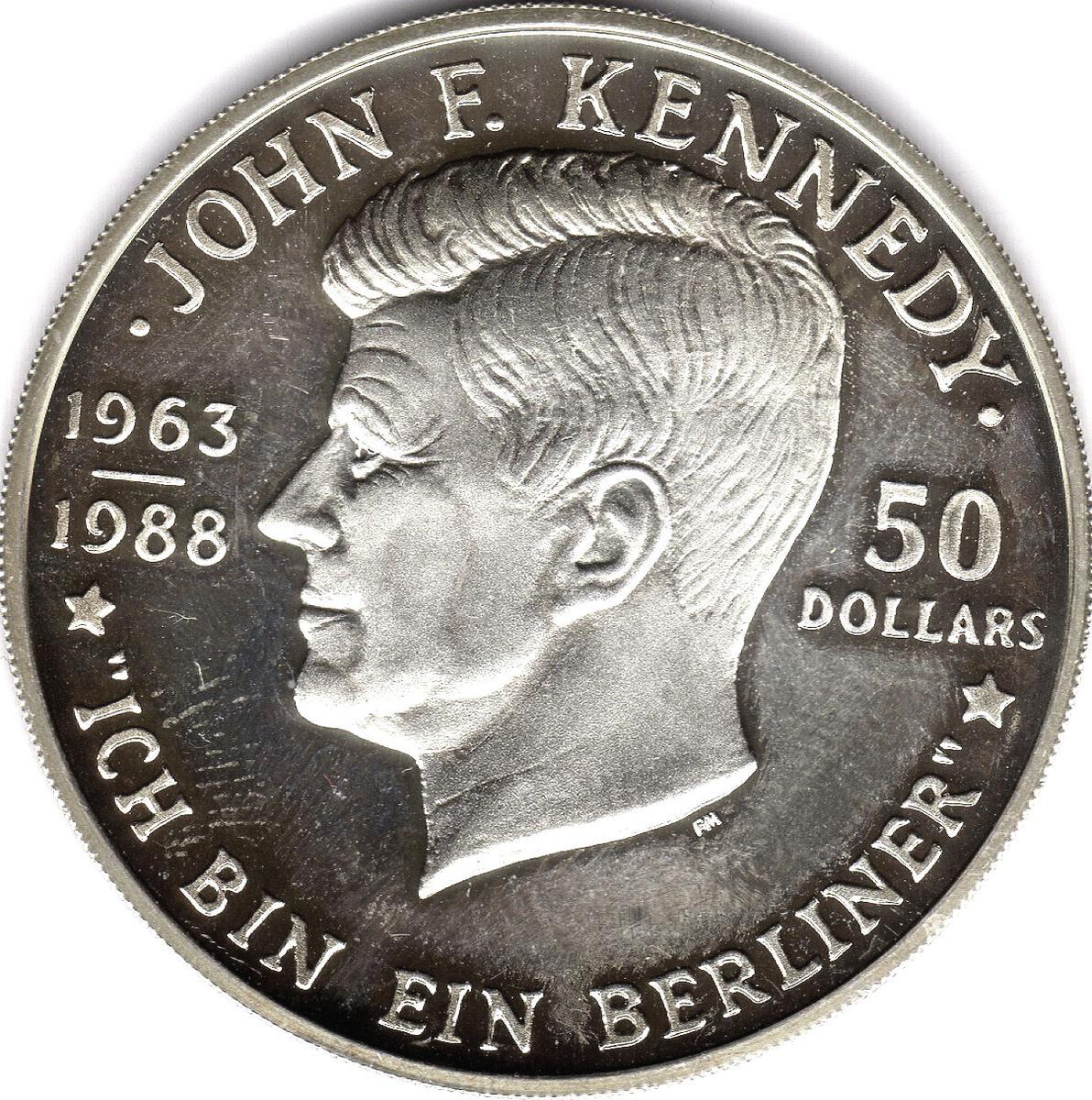 Coin 50 Dollars - Elizabeth II (Death of John F. Kennedy) Niue reverse