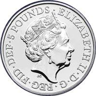 Coin 5 Pounds - Elizabeth II (5th portrait; Year of the Rat) United Kingdom of Great Britain and Northern Ireland obverse