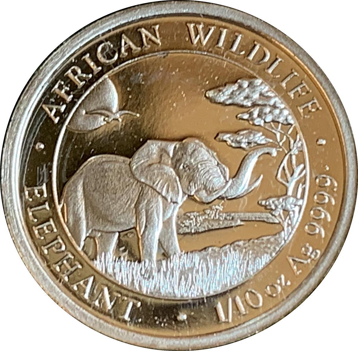 Coin 10 Shillings (Elephant) Somalia reverse