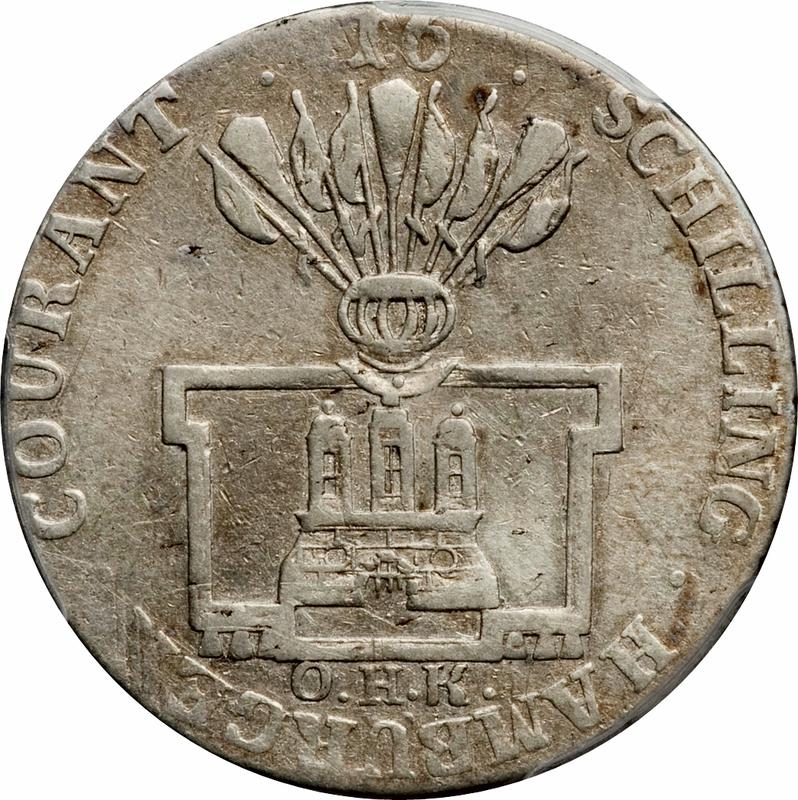 Coin 16 Schilling Courant Free Hanseatic city of Hamburg obverse
