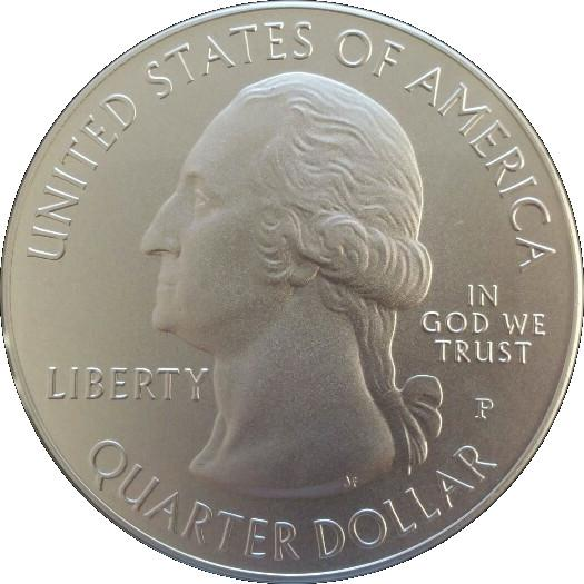 "Coin ¼ Dollar ""Washington Quarter"" (Blue Ridge Parkway, North Carolina - Silver 5oz Bullion) United States of America obverse"