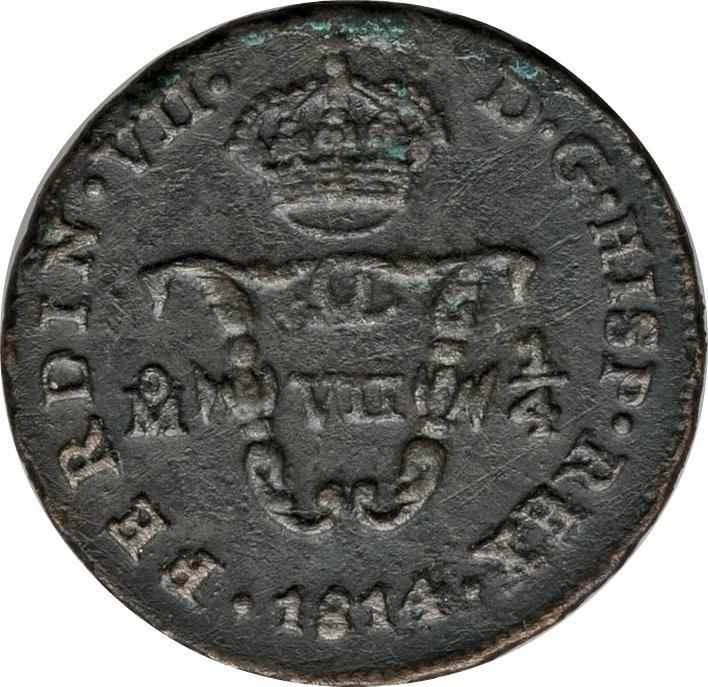 """Coin ⅛ Real """"Tlaco"""" - Fernando VII Mexico obverse"""