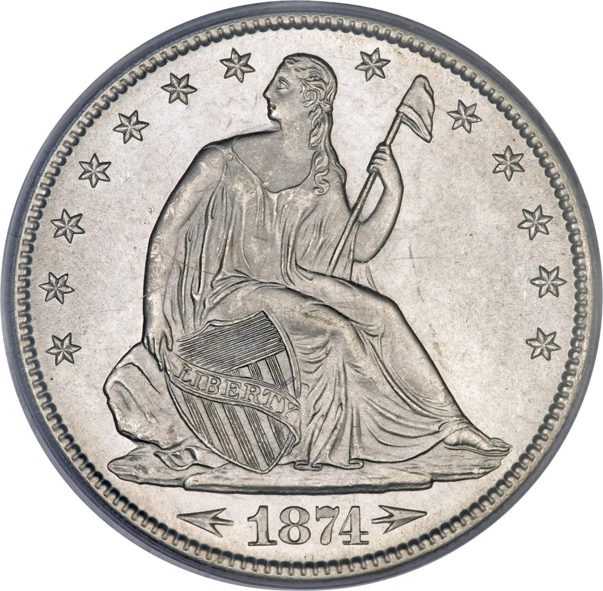 """Coin ½ Dollar  """"Seated Liberty Half Dollar"""" (with date arrows United States of America obverse"""