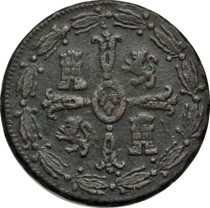 """Coin ⅛ Real """"Tlaco"""" - Fernando VII Mexico reverse"""