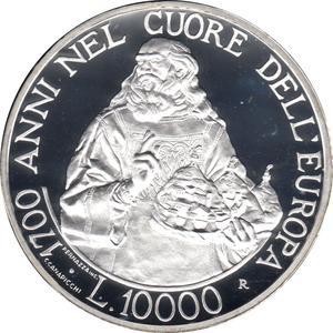 Coin 10 000 Lire (Foundation) San Marino reverse