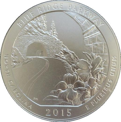 "Coin ¼ Dollar ""Washington Quarter"" (Blue Ridge Parkway, North Carolina - Silver 5oz Bullion) United States of America reverse"