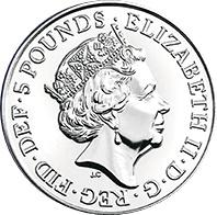 Coin 5 Pounds - Elizabeth II (5th portrait; The White Lion of Mortimer) United Kingdom of Great Britain and Northern Ireland obverse