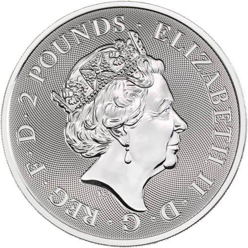 Coin 2 Pounds - Elizabeth II (1 oz Fine Silver; Silver Valiant) United Kingdom of Great Britain and Northern Ireland obverse
