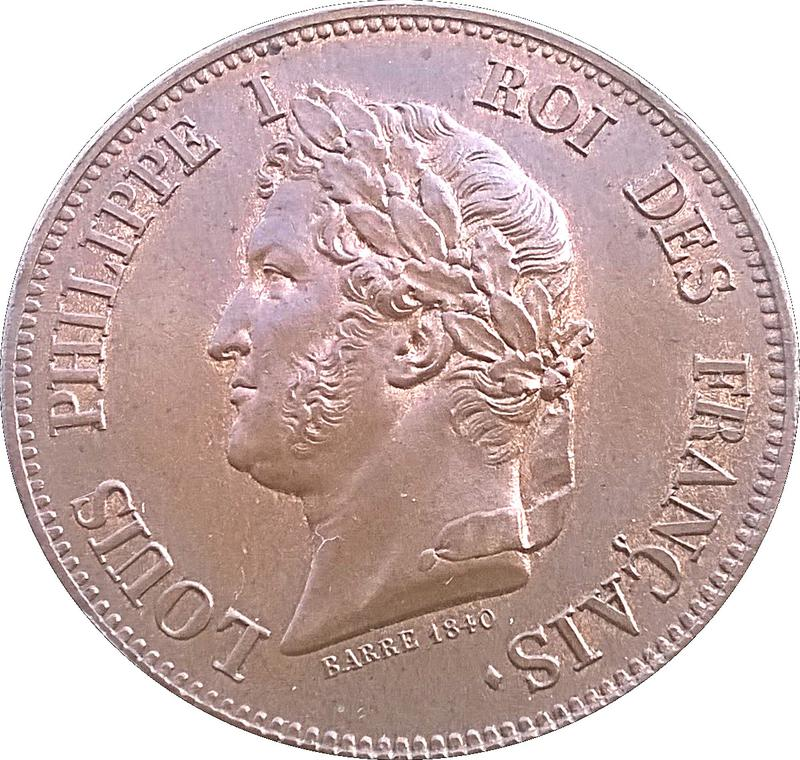 Coin 1 Décime - Louis Philippe I (pattern of Barre with an modul of 1 decime) France - Modern obverse