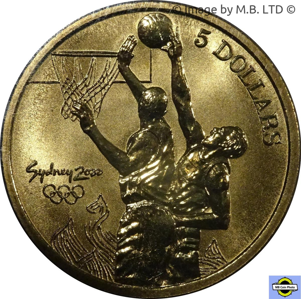 Coin 5 Dollars - Elizabeth II (4th Portrait - Basketball) Australia reverse