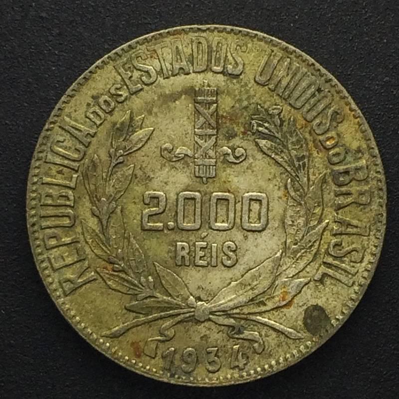 Coin 2000 réis de 1934 (mocinha) Brazil obverse