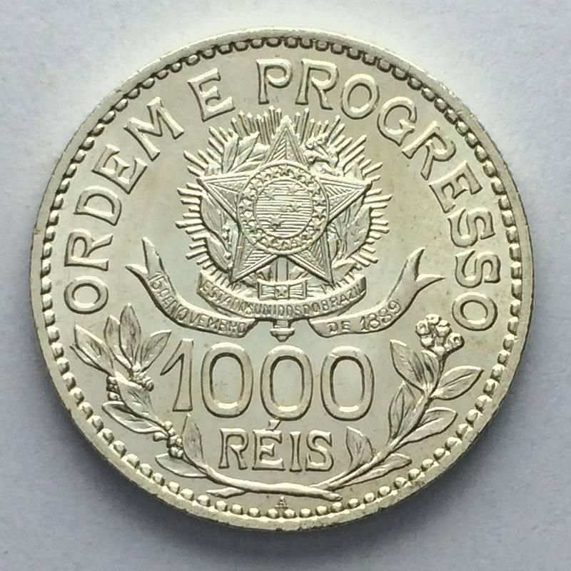Coin 1000 réis de 1913 (estrelas soltas) Brazil obverse