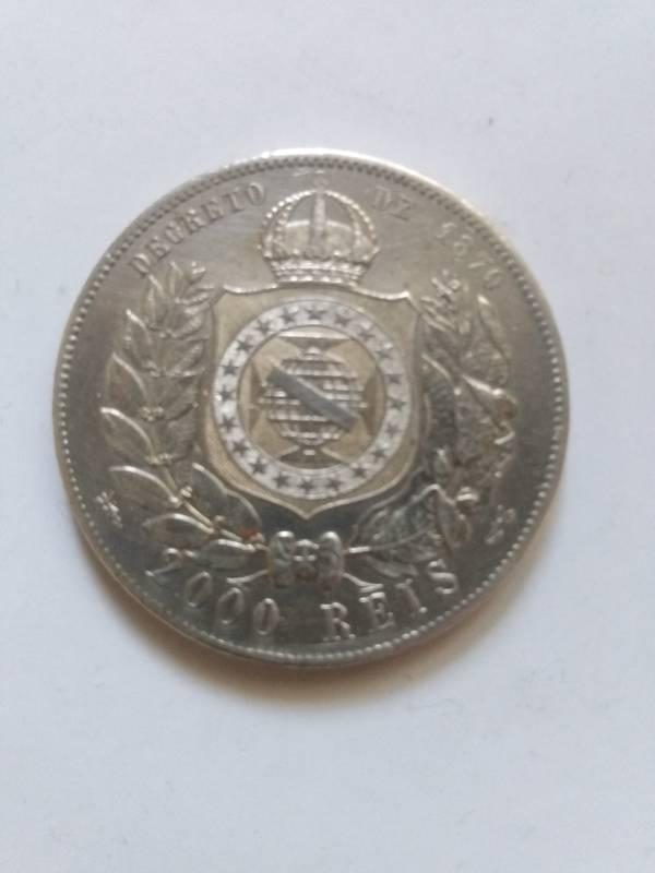 Coin 2000 Réis - Pedro II - Prata - 4° Tipo Brazil obverse