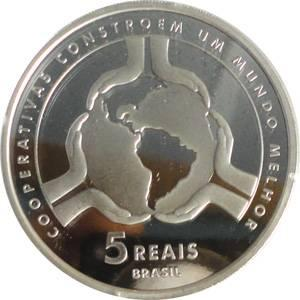 Coin P748 Moeda Brasil 5 Reais 2011 Ano Internacional das Cooperativas (Cooperatives) Brazil reverse