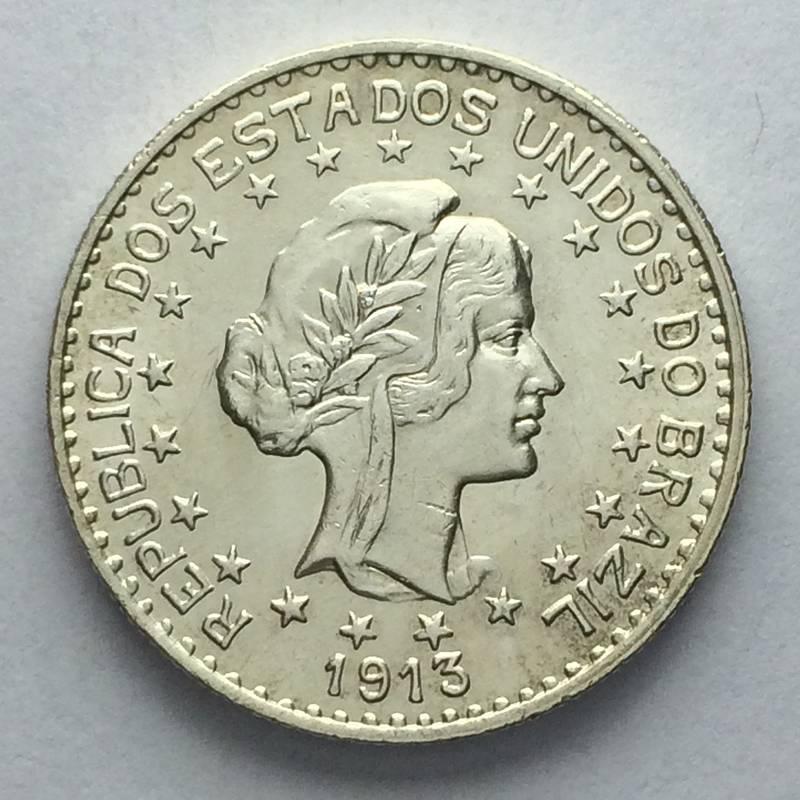 Coin 1000 réis de 1913 (estrelas soltas) Brazil reverse