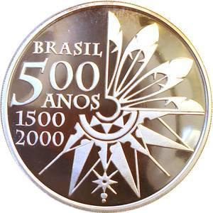 Coin P734 Moeda Brasil 2000 5 Reais 500 Anos do Descobrimento do Brasil (Discovery of Brazil) Brazil obverse