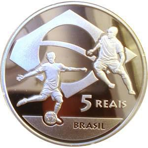 Coin P745 Moeda Brasil 5 Reais 2010 Copa do Mundo - Africa Do Sul (South Africa World Cup) Brazil reverse