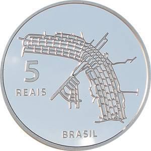 Coin P744 Moeda Brasil  5 Reais 2010 50 Anos de Brasilia Patrimonio da Humanidade UNESCO (Brasília) Brazil reverse