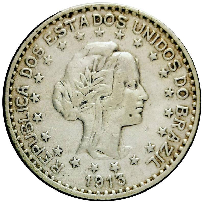 Coin 1000 réis de 1913 (estrelas soltas - 2º tipo) Brazil reverse