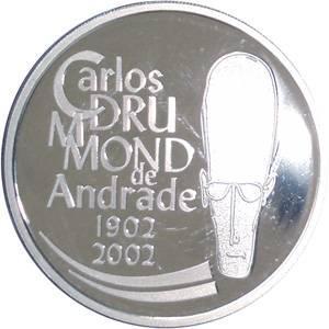 Coin P736 Moeda Brasil 2 Reais 2002 100 Anos do Nascimento do Escritor Drummond (Carlos Drummond de Andrade) Brazil obverse