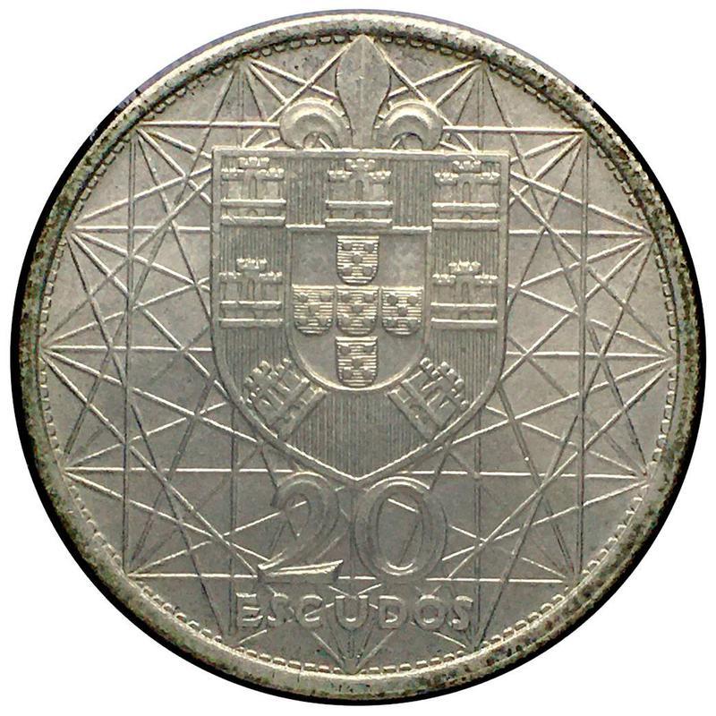 Coin 20 escudos de 1966 (Ponte Salazar) Portugal obverse