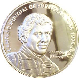 Coin P731 Moeda Brasil 2 Reais 1995 Homenagem a Ayrton Senna (Ayrton Senna) Brazil obverse